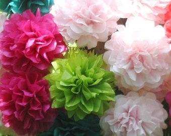 "12 Open Tissue Paper Flowers 5.5"", unfurled,custom color,garden party,garland,favor,baby shower,reception,bouquet.centerpiece,cupcake"