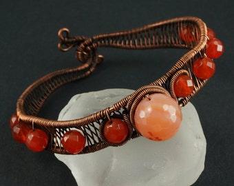 Carnelian and Copper Bracelet
