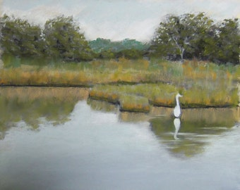 Egret at Twilight Lake Original Pastel painting 8x10 inches FREE SHIPPING