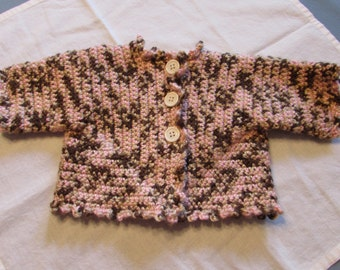 Blanket, Sweater, and Hat Pink Brown and Tan Baby Girl Crochet Birth to 6 Months