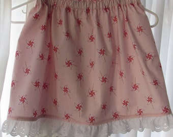 Size 6 Pink Pinwheel Print Girl Skirt With Eyelet Lace Hem Sarah Jane Fabric Let's Pretend, Children on Parade, Wee Wander or Ship Ahoy