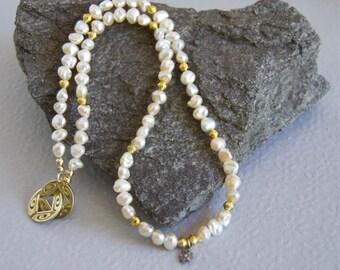 Real Pink Pearl Necklace Keshi Pearls Genuine Diamond Star Charm Gold Vermeil Bridal Necklace June Birthstone June Wedding Dainty Pearl