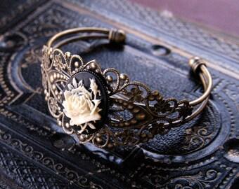 Cameo Cuff Bracelet- Black and White Rose