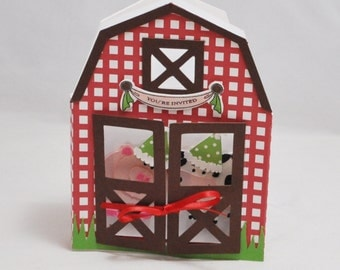 Barn Shaped Invitations- Farm Party- 3D- Set of 6
