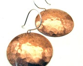 XXL Hammered Copper Disc Earrings - QUEEN NEPTUNE -  1 1/4 inches Round on Sterling Silver Wires