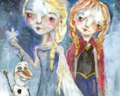 Elsa and Anna - mixed media art print by Mindy Lacefield