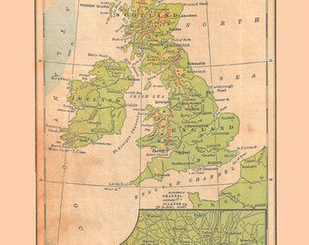 map of the British Isles, Scotland, Ireland, England, a printable instant download, digital map no. 256