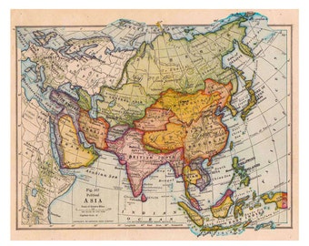Map Of Asia Etsy - Printable map of asia