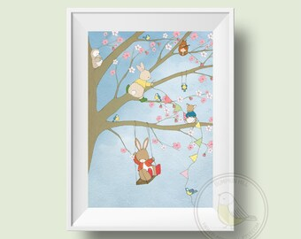 Children's Wall Art Print - The Blossom Tree Party - Nursery Room Decor