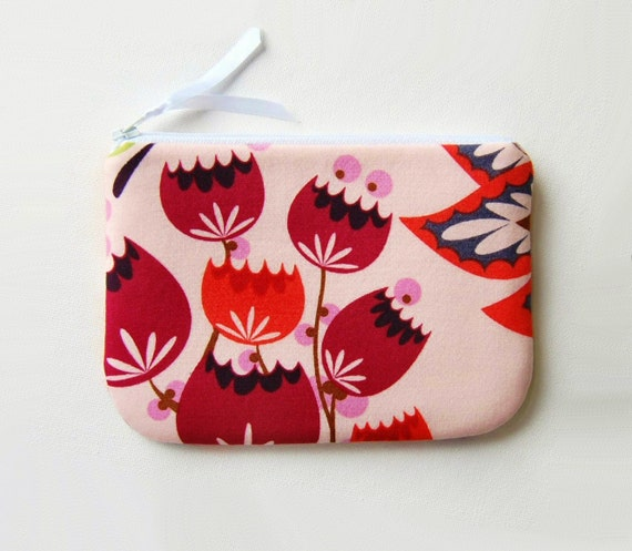 Women's Zipper Pouch Summer Totem in Grapefruit Anna Maria Horner louLOUthi