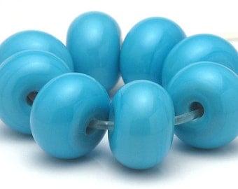 Handmade Lampwork Spacer Beads Light Turqoise Robin's Egg Blue SRA