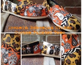 Cowboy Western Hand Painted TOMS included in this listing with zebra and cheetah print.