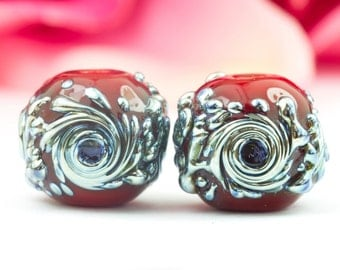 Cascade Pair - Red - Lampwork Glass Bead Pair by Clare Scott SRA Silver Lustre