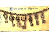 Vintage 60s Keys to Happiness Charm Bracelt