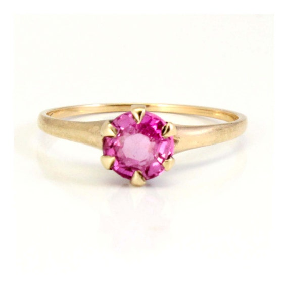 antique yellow gold pink sapphire solitaire