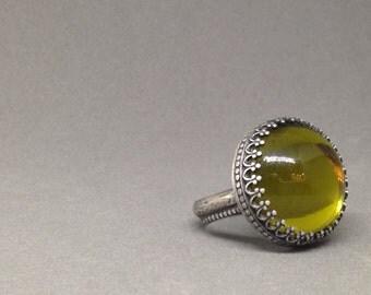 Acid moss green filigree vintage glass statement ring modern mystical mirror ball carnival ring gypsy