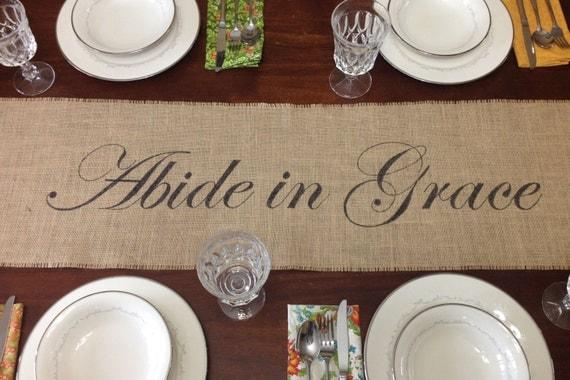 Abide in Grace burlap table runner