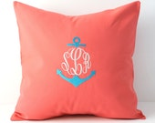 Anchor Monogram Pillow Cover 18 x 18. Nautical Home Decor Gift. Dorm Decor. Christian Symbol. Throw Pillow. Boat Beach Decor SewGracious.