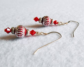 Red and silver aluminum earrings - dangle earrings - drop earrings - Destash sale - Clearance
