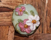 Lampwork Glass Focal, Pale Green, Pink, White