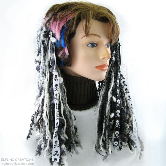 Skull Hair Falls Yarn Dreads - Pirate Gothic Halloween Dreadfalls in Black And White