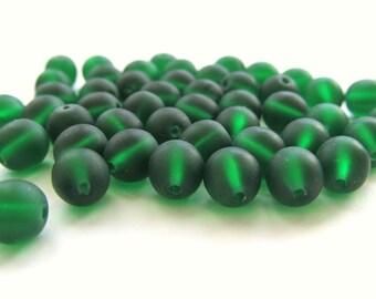 Smooth Matte Emerald Green Round Czech Glass Druk Beads, 6mm - 50 pieces