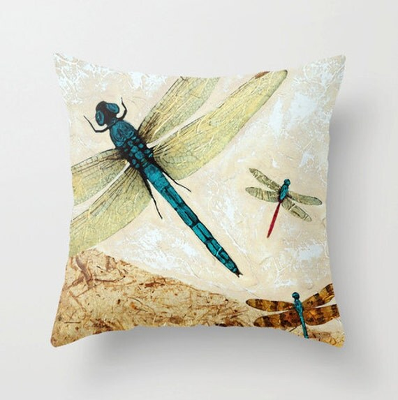 Throw Pillow With Dragonfly : Throw Pillow COVER Dragonfly Dragonflies Zen Art Design Home