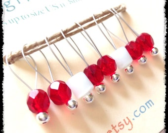 Snag Free Stitch Markers Medium Set of 8 - Red and White Glass - M30 -- For up to size US 11 (8mm) Knitting Needles