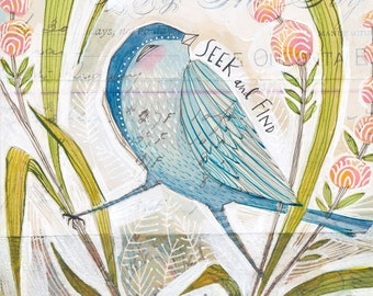 bird art print - blue bird - bird and flowers - whimsical watercolor painting - 8 x 8 archival limited edition print by cori dantini