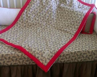 Sock Monkey Brown Button Toss Sock Monkey Crib Bedding Set With Chenille