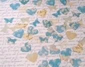 Wedding / party table confetti hearts buterflies vintage style blue cream 100 pieces