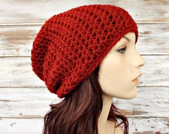 Crochet Hat Red Womens Hat - Memphis Slouchy Beanie Hat Brick Red Crochet Hat Red Hat Red Beanie Womens Accessories