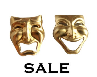 Brass Comedy and Tragedy Acting Mask Pendants (4X) (V482) - SALE 50 % off