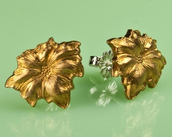 Vintage Brass Floral Button Post Earrings