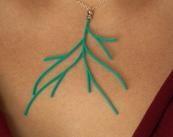 Vintage Turquoise Lucite Branch Necklace