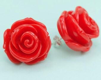 Big Chunky Red Rose Post Earrings 23mm