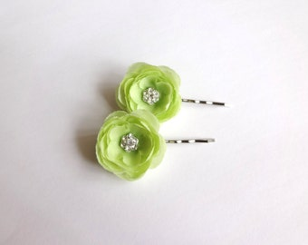 Lime Green Ranunculus Hair Pins, Shoe Clips, Baby Snap Clips
