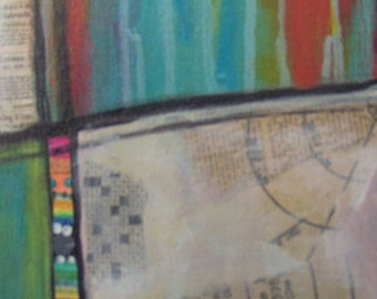 """52   is 6""""x12""""x1.5""""   Mixed media original artwork that is ready to hang.  It is highly geometric and fun to behold.  Your wall needs this!"""