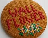 SALE Oversized cross stitch Wall Flower badge