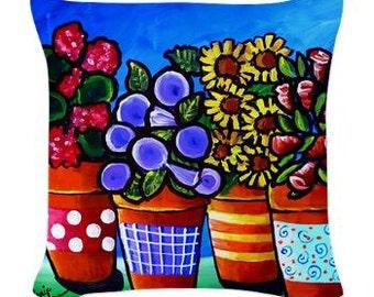 Flower Pots Fun Folk Art Pillow - Woven Throw Pillow Whimsical Art by Renie Britenbucher