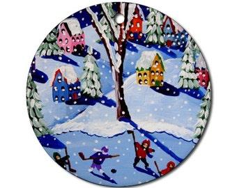 Winter Snow Kids Hockey Christmas  Folk Art Fun Whimsical Colorful Round Porcelain Ornament