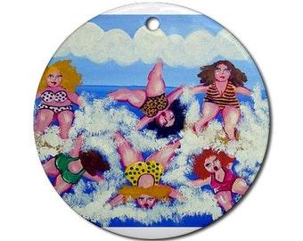 Surfing Divas Fun Whimsical Colorful Round Porcelain Ornament