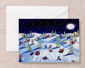 Winter Holiday Ice Kids Sled at Devils Dip 2  Whimsical Fun Folk Art Greeting Cards Pk of 10
