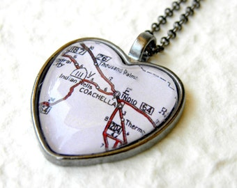 Coachella Map Necklace - Coachella Valley California also featuring Indio