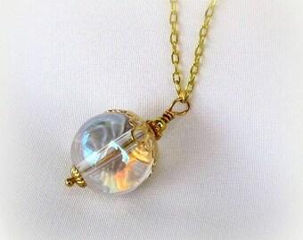 Mystical Crystal Ball Pendant Long Gold Necklace Boho Chic, Gypsy Spirit, Fortune Teller, Handmade Fantasy Jewelry