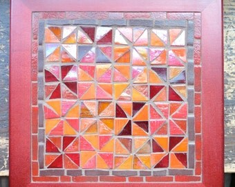 Colorful Geometric Trivet in Orange Red and Brown