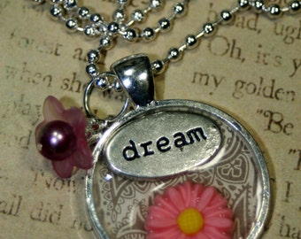 Day Dreamers Inch N Pearl Charm Necklace Layering Altered Art Radiant Orchid Freshwater Pearl Classy Elegant Simple