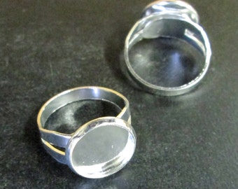 Front closing adjustable silver plated 12mm bezel ring bases, pick your amount