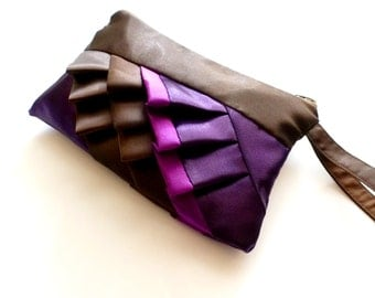 Deep Brown and Purple Diagonal Satin Ruffled Wristlet