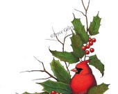 Commercial Use, Printable Christmas Clip Art, Cardinal Bird, Holly, Freehand Artwork, Holiday Clipart, Twigs, Berries, png and jpg files